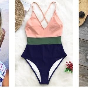 NWT Cupshe color block cross back one piece suit